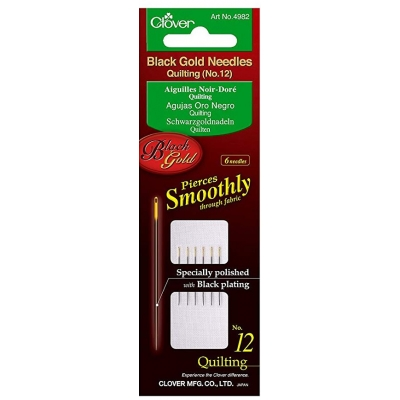 CLOVER BLACK GOLD QUILTING NEEDLES NO:12 4982 (6 PIECES)