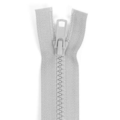 Bone Tooth Coat Zipper Light Grey