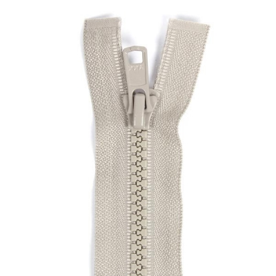 Bone Tooth Coat Zipper Beige