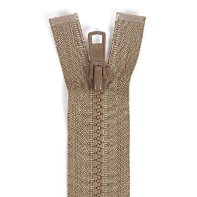 Bone Tooth Coat Zipper Dark Beige