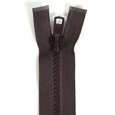 Bone Tooth Coat Zipper Dark Brown