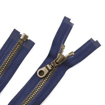 Black Oxide Metal Coat Zipper Navy Blue
