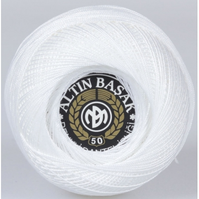 ALTINBASAK COLORFUL LACE YARN NO:50 26-WHITE (20 gr)