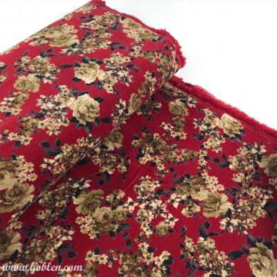 Kadife Kumaş, Emprime 10109 Kırmızı 145cm En