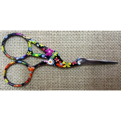 Colorful Swan Embroidery Scissors Black